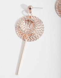 Rose Gold Textured Disc Drop Earring - link has visual effect only
