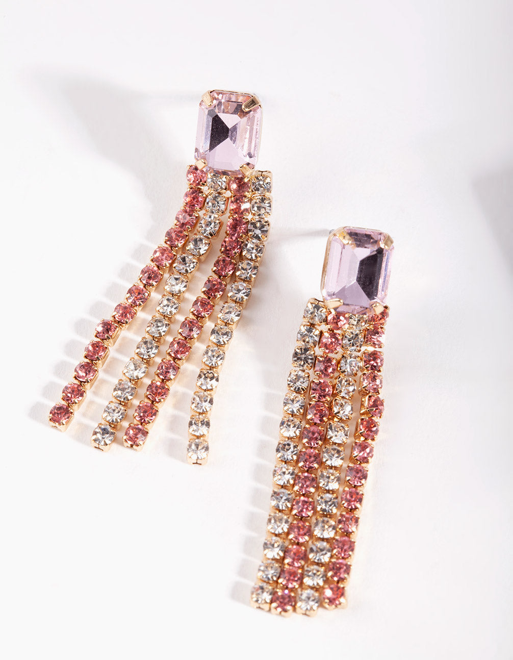 Pink Diamante Drop Earrings