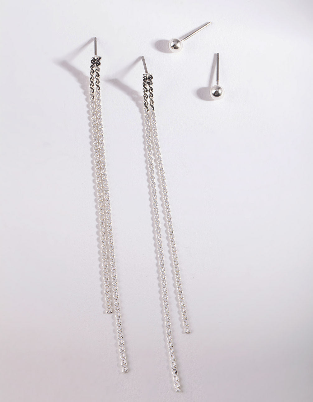 Silver Long Flat Chain Earring Pack