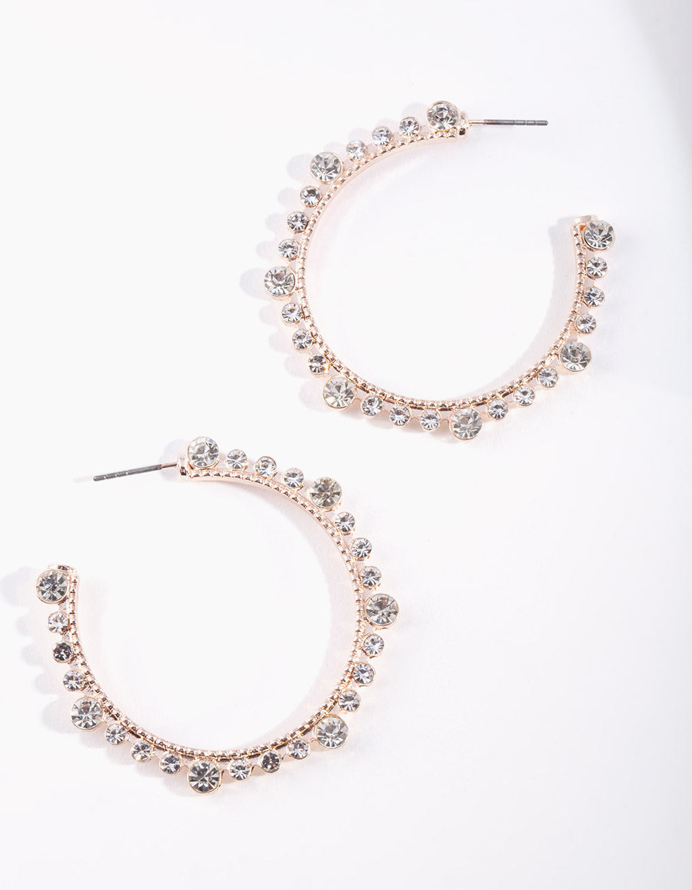 Rose Gold Diamante Hoop Earrings