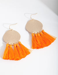 Orange Gold Circle Tassel Earring - link has visual effect only