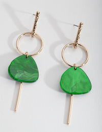 Gold Green Acrylic Drop Earring - link has visual effect only