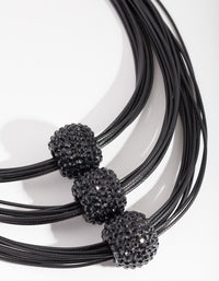 Black Triple Row Bead Necklace - link has visual effect only