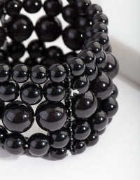 Black Bead Stretch Bracelet 5 Pack - link has visual effect only