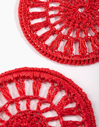 Red Crochet Disc Hoop Earring - link has visual effect only