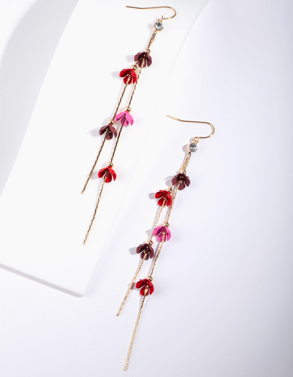 Red Mini Coated Flower Earring