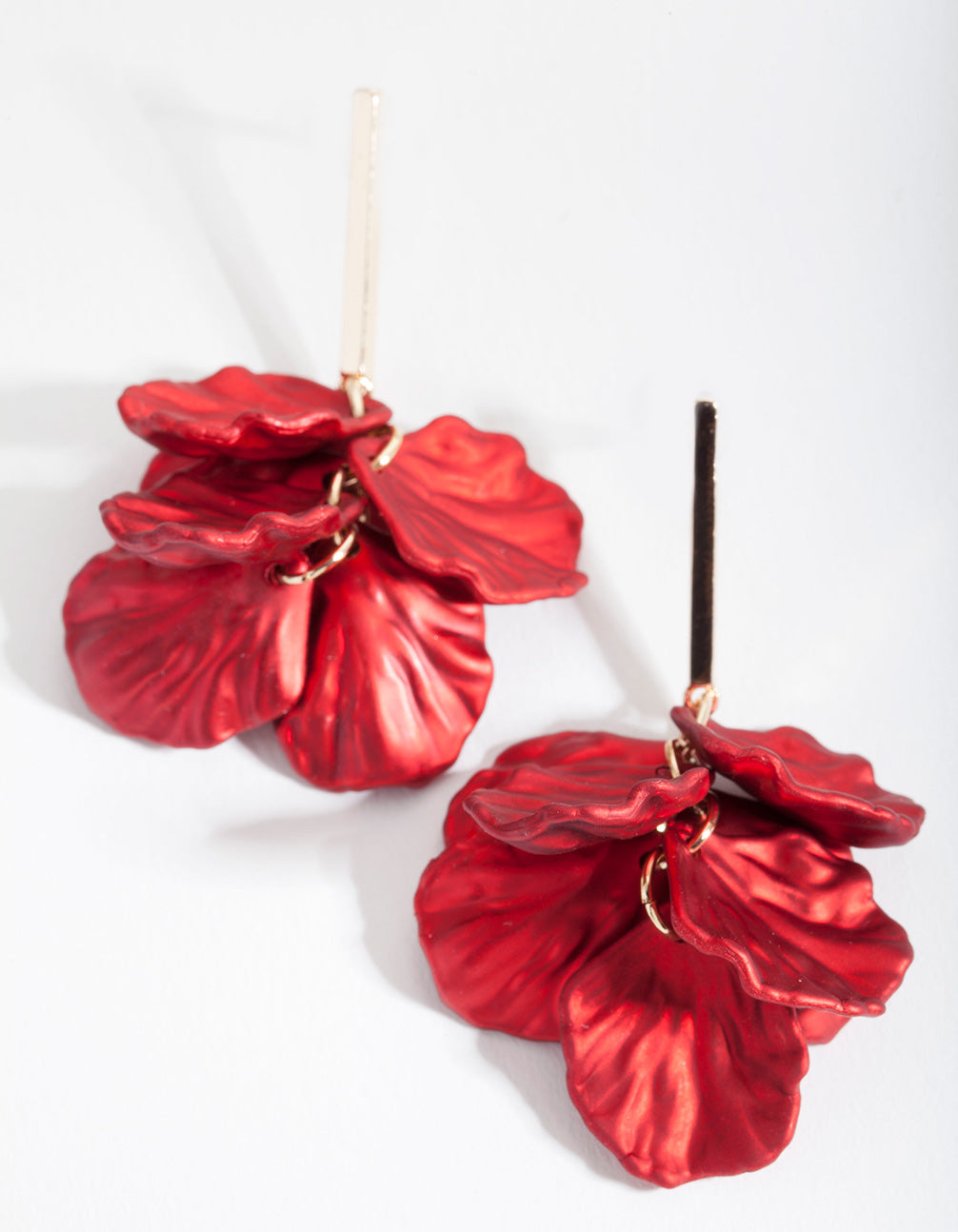 Red Petal Drop Earrings