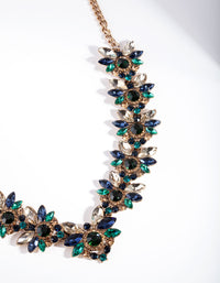 Blue Flower Stone Set Necklace - link has visual effect only