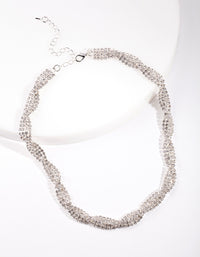 Silver Diamante Twist Necklace - link has visual effect only