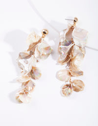 Gold Reflective Petal Drop Earring - link has visual effect only