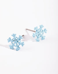 Kids Blue Snowflake Stud Earring - link has visual effect only