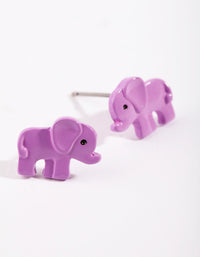 Kids Purple Elephant Stud Earring - link has visual effect only