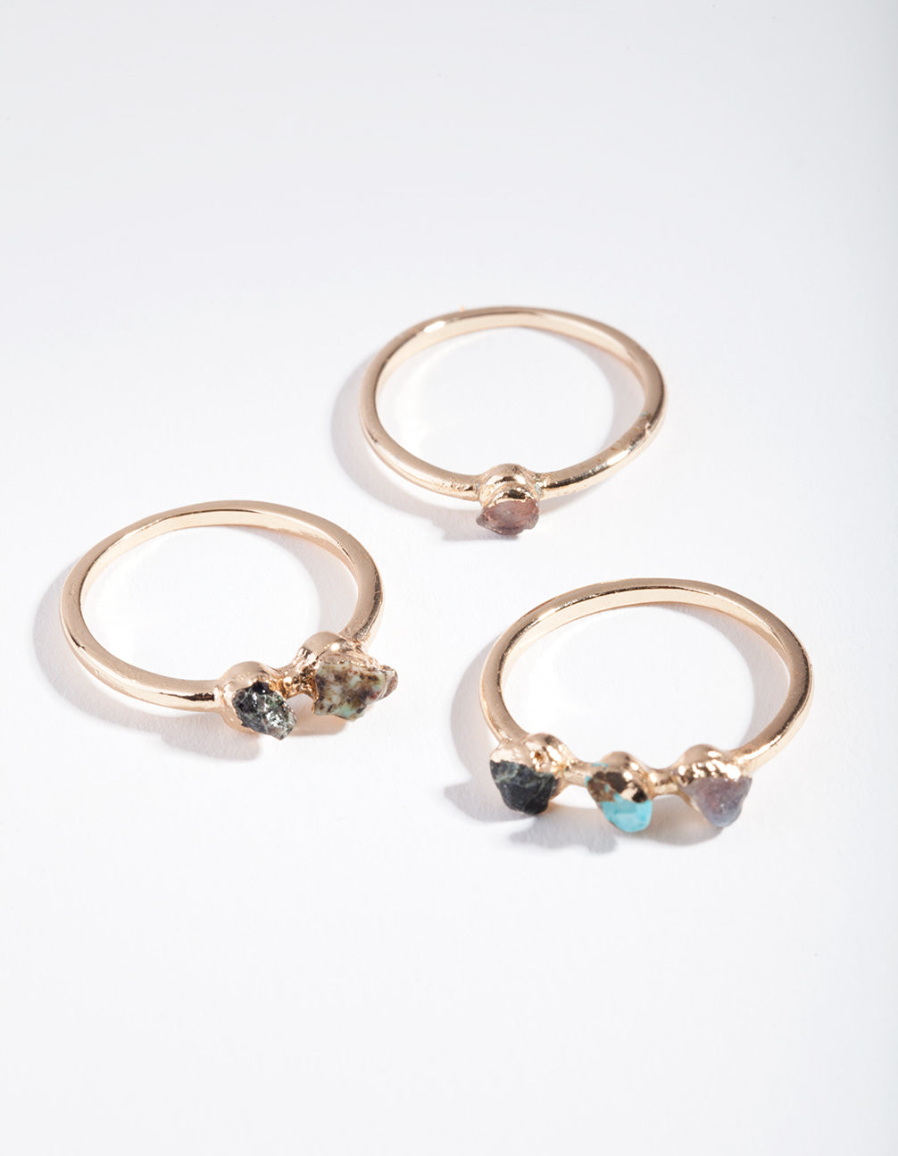 Gold Raw Stone Mixed Ring Pack