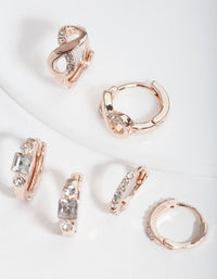 Rose Gold Huggie Earring Stack Pack - link has visual effect only