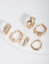 Gold Huggie Hoop Earring Stack Pack - link has visual effect only