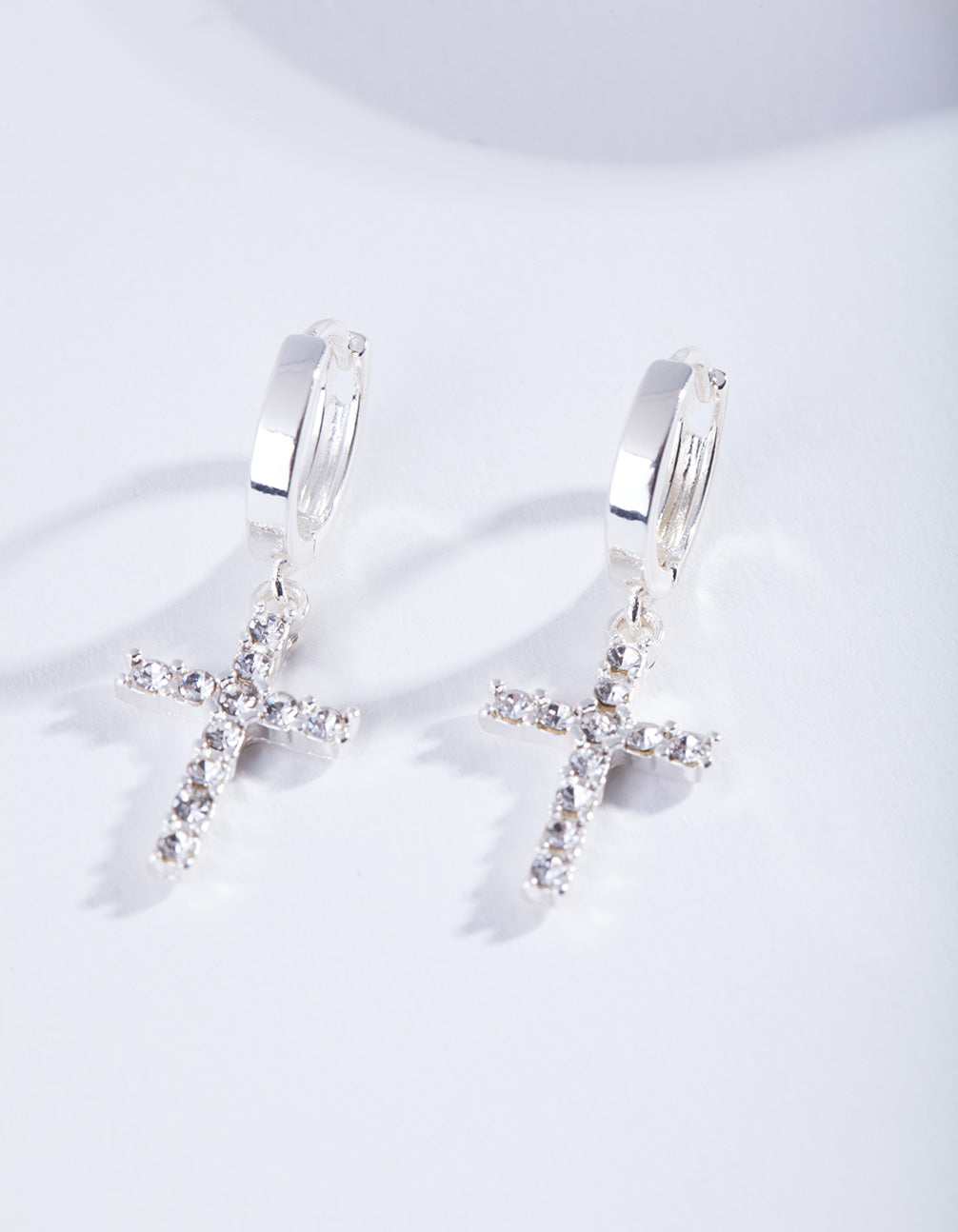 Silver Diamante Cross Huggie Earrings