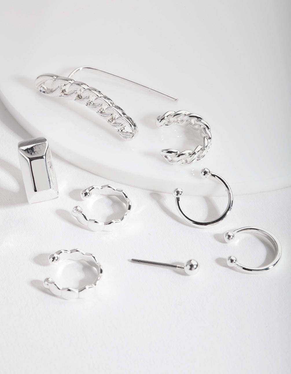Silver Chain Crawler and Cuff Earring Stack Pack