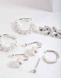 Silver Pearl Crawler and Cuff Earring Pack - link has visual effect only