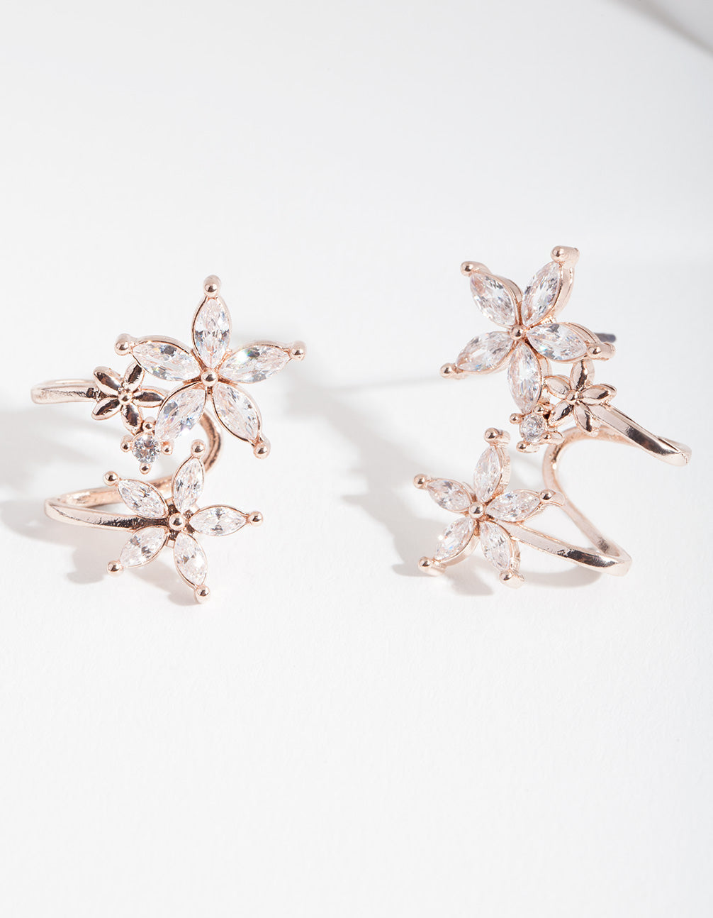 Rose Gold Cubic Zirconia Flower Crawler Earring