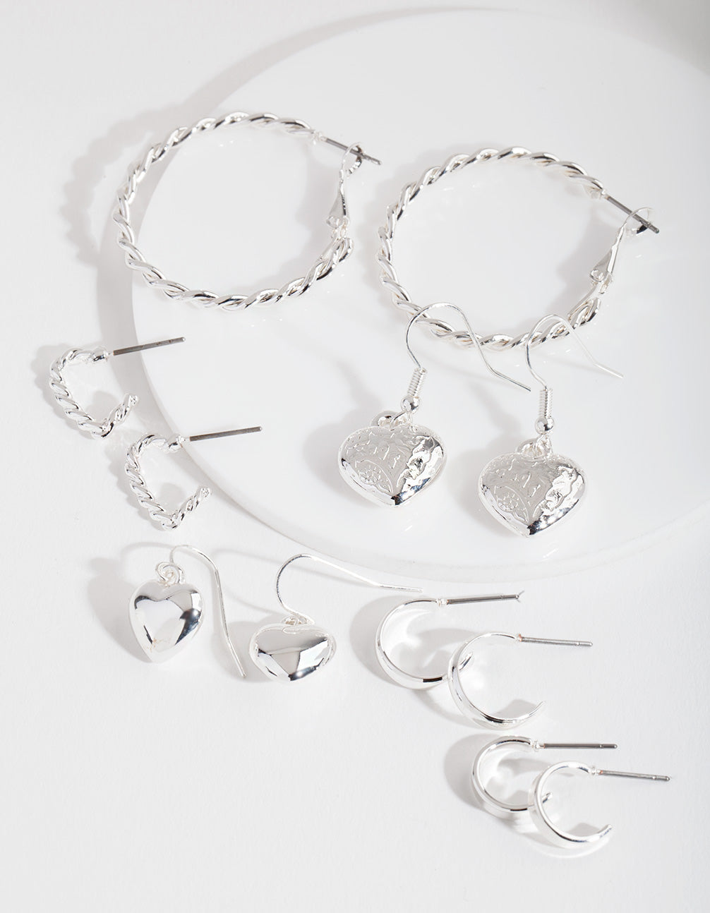 Silver Mixed Heart Earring Pack