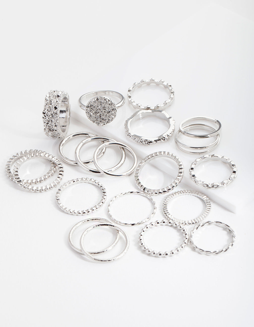Rhodium Texture 21x12-Pack Rings