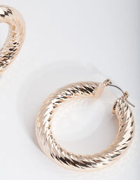 Gold Chunky Etched Hoop Earring - link has visual effect only