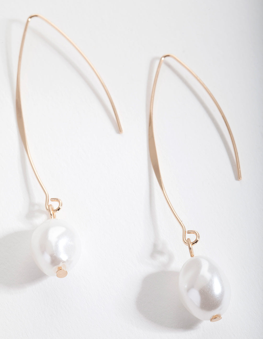 Gold Pearl Curved Thread Through Drop Earring