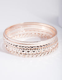 Rose Gold Textured Bangle 6 Pack - link has visual effect only