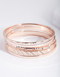 Rose Gold Textured Strip Bangle 6 Pack - link has visual effect only