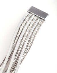 Silver Diamante Leatherette Bracelet - link has visual effect only