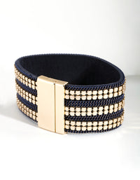 Navy Gold Triple Row Bracelet - link has visual effect only