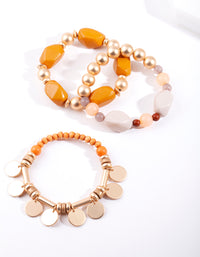 Gold Circle Charm Bracelet 3 Pack - link has visual effect only
