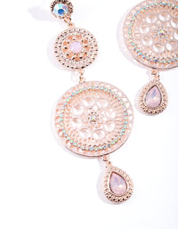 Rose Gold Circle Disc Drop Earring - link has visual effect only