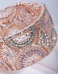 Rose Gold Diamante Stretch Bracelet - link has visual effect only