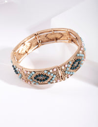 Antique Gold Diamante Stretch Bracelet - link has visual effect only