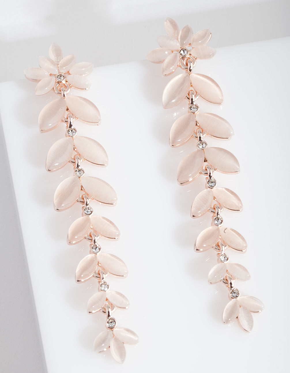 Rose Gold Cats Eye Petal Earring