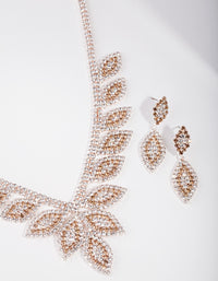 Rose Gold Single Leaf Jewellery Set - link has visual effect only