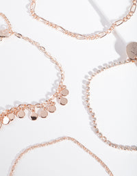 Rose Gold Diamante Disc Bracelet and Anklet 4 Pack - link has visual effect only