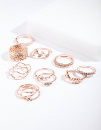 Rose Gold Diamante Leaf Ring Pack - link has visual effect only