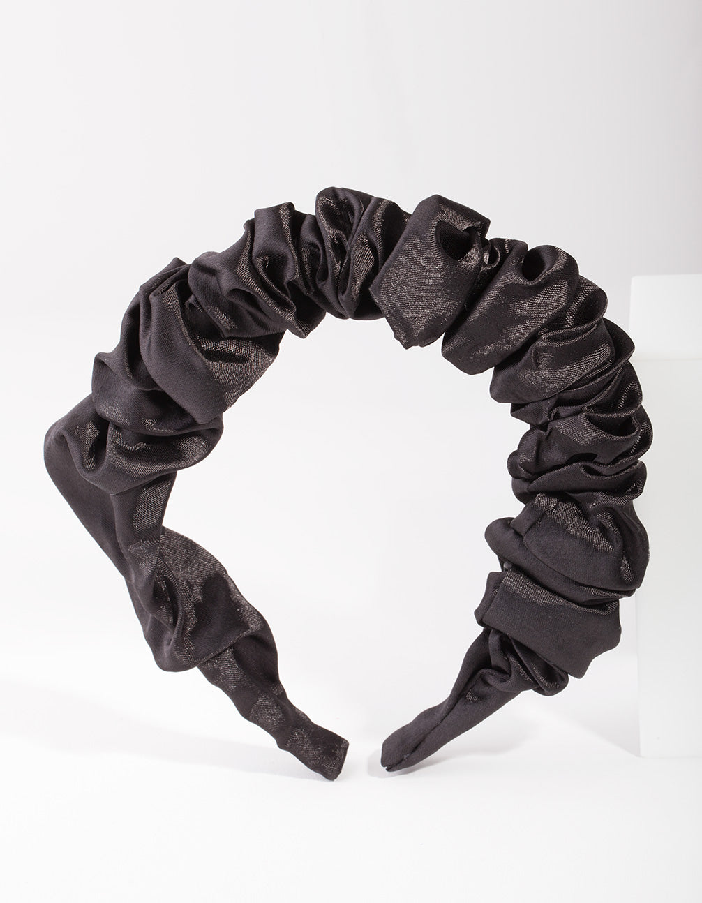 Black Satin Scrunch Headband
