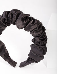 Black Satin Scrunch Headband - link has visual effect only
