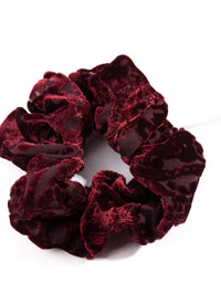 Maroon Flocked Velvet Scrunchie - link has visual effect only