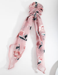 Pink Velvet Floral Scrunchie Scarf - link has visual effect only