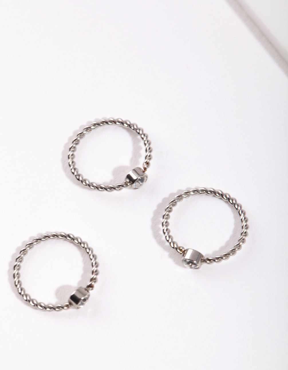 Rhodium Diamante Twist Nose Ring 3 Pack