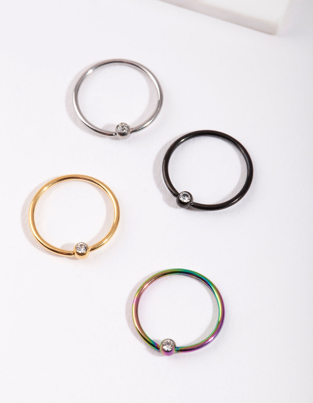 Mixed Metal Diamante Nose Ring 4 Pack