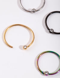 Mixed Metal Diamante Nose Ring 4 Pack - link has visual effect only