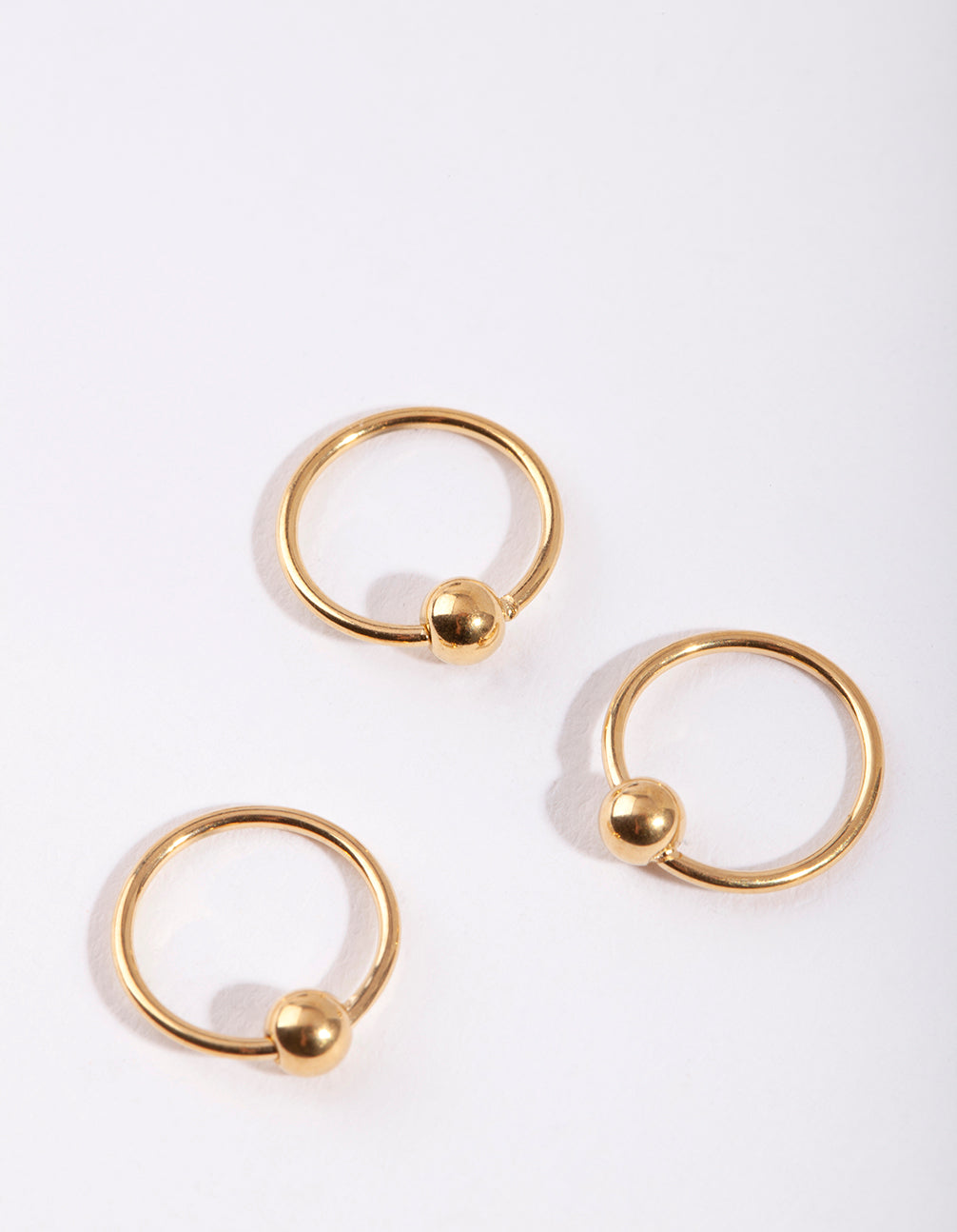 Gold Ball Nose Ring 3 Pack