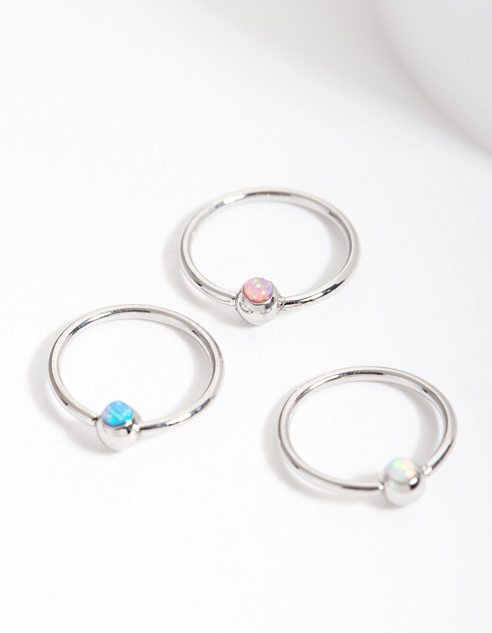 Surgical Steel Synthetic Opal Upper Hoop 3 Pack