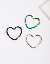Mixed Metal Heart Earring 3 Pack - link has visual effect only