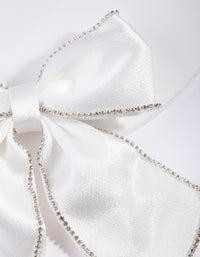 White Diamante Satin Bow Clip - link has visual effect only